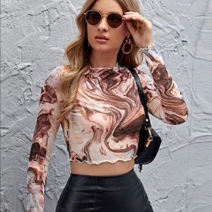 LETTUCE TRIM MARBLE MESH CROP TOP (small)